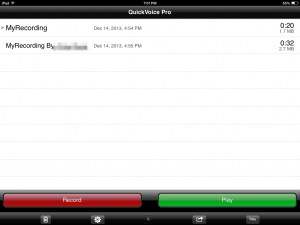QuickVoice app view